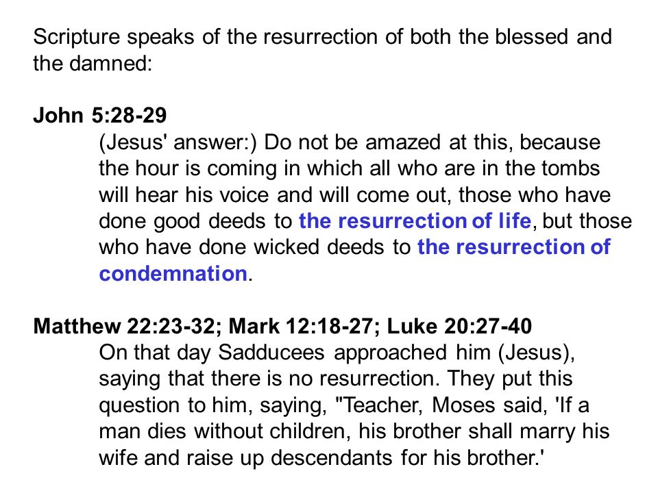 Scripture speaks of the resurrection of both the blessed and