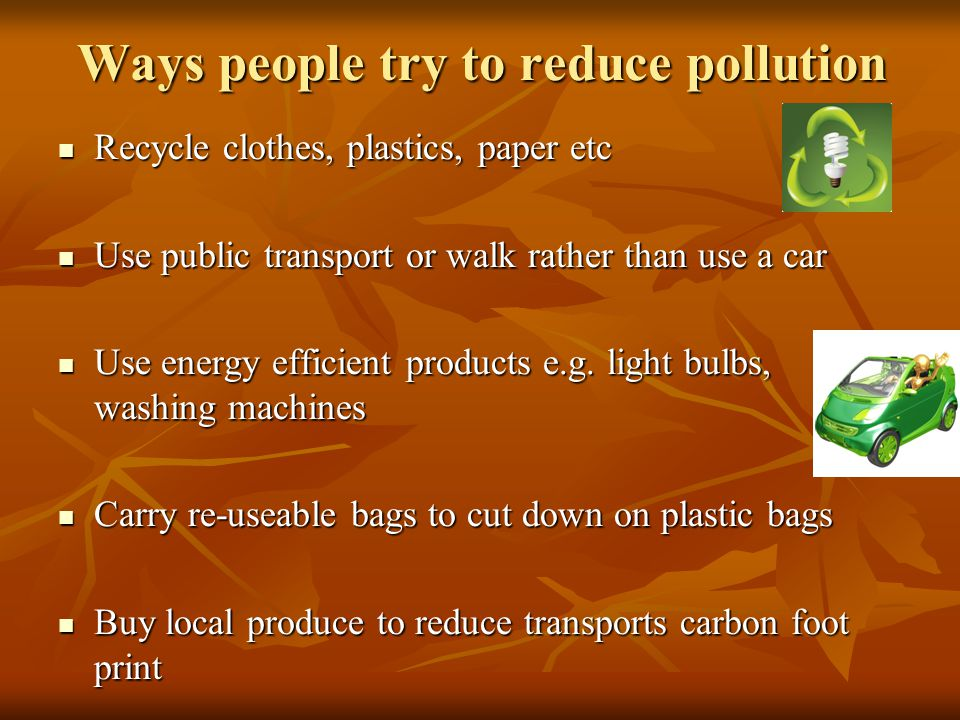 Ways people try to reduce pollution