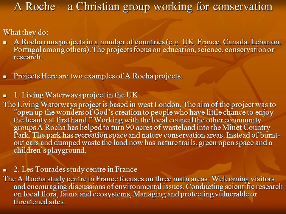 A Roche – a Christian group working for conservation