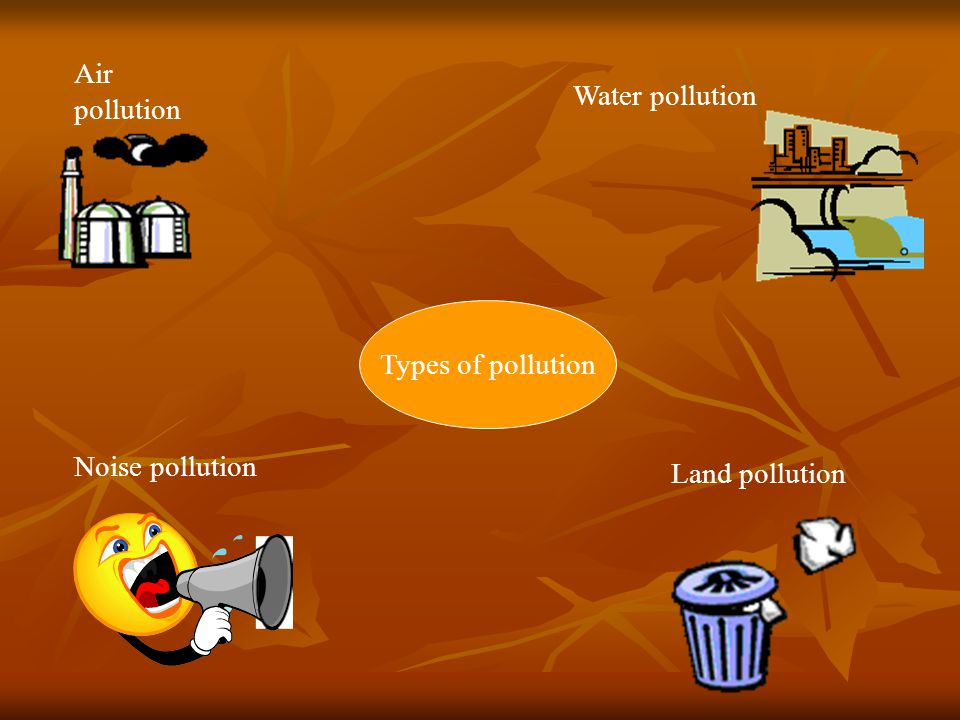 Air pollution Water pollution Types of pollution Noise pollution Land pollution
