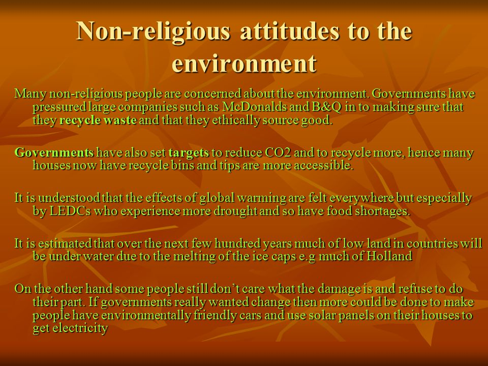 Non-religious attitudes to the environment