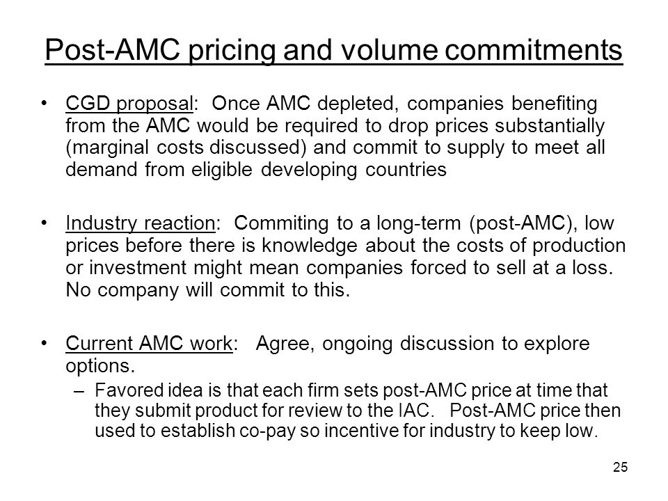 Post-AMC pricing and volume commitments