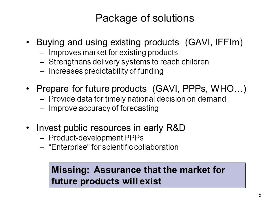 Package of solutions Buying and using existing products (GAVI, IFFIm)