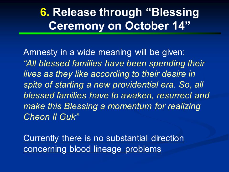 6. Release through Blessing