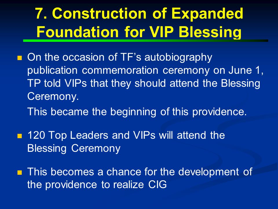 7. Construction of Expanded Foundation for VIP Blessing