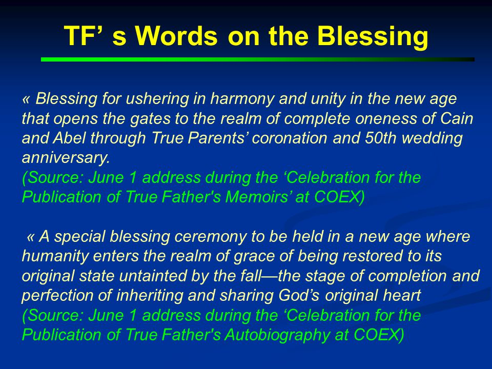 TF' s Words on the Blessing