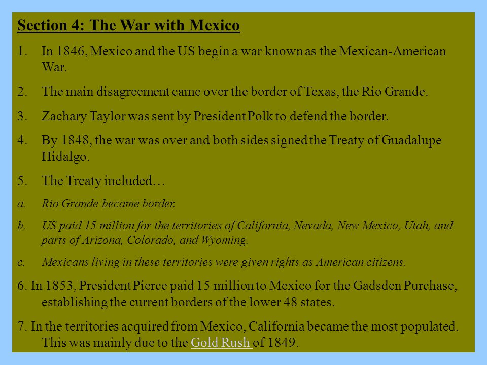 Section 4: The War with Mexico