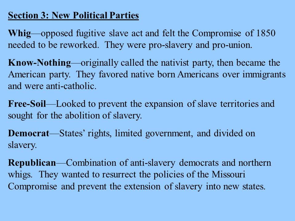 Section 3: New Political Parties