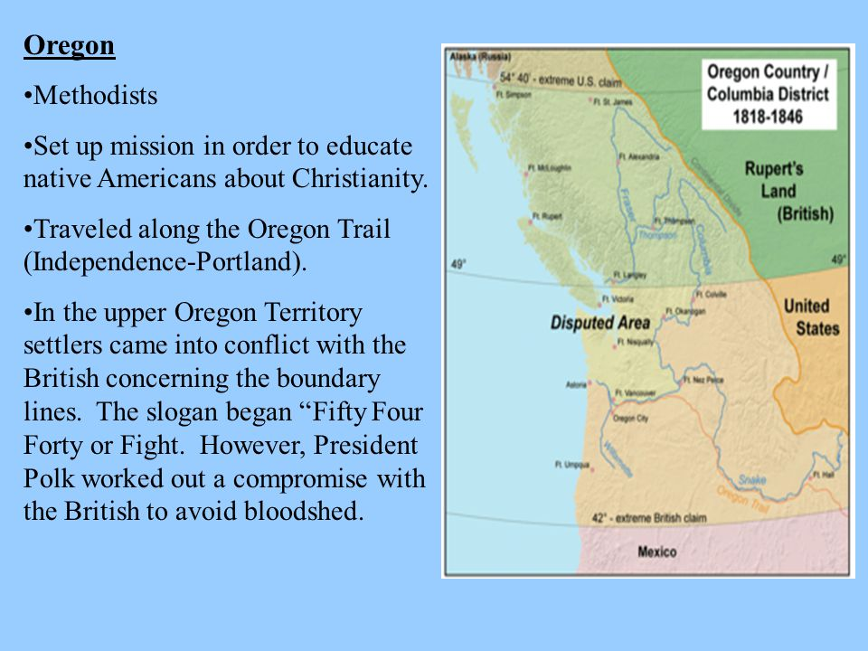 Oregon Methodists. Set up mission in order to educate native Americans about Christianity. Traveled along the Oregon Trail (Independence-Portland).