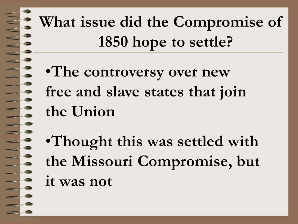 What issue did the Compromise of 1850 hope to settle