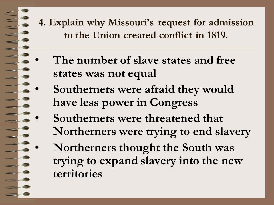 The number of slave states and free states was not equal