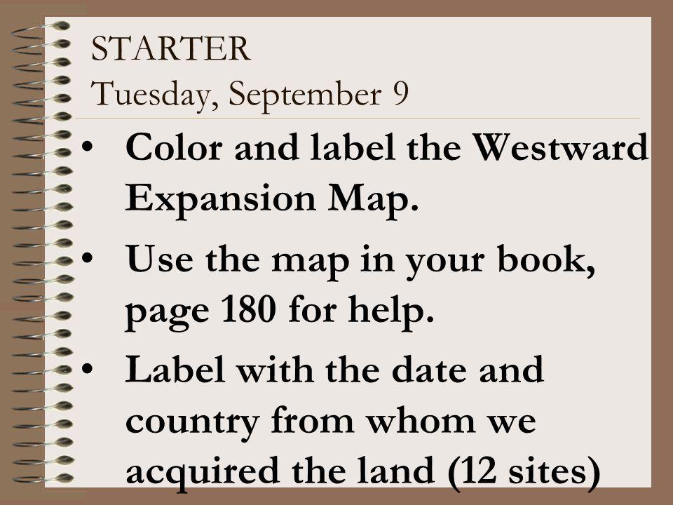 STARTER Tuesday, September 9