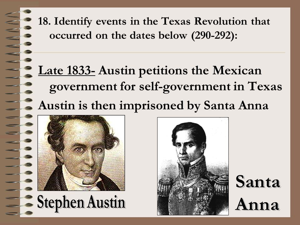 Austin is then imprisoned by Santa Anna
