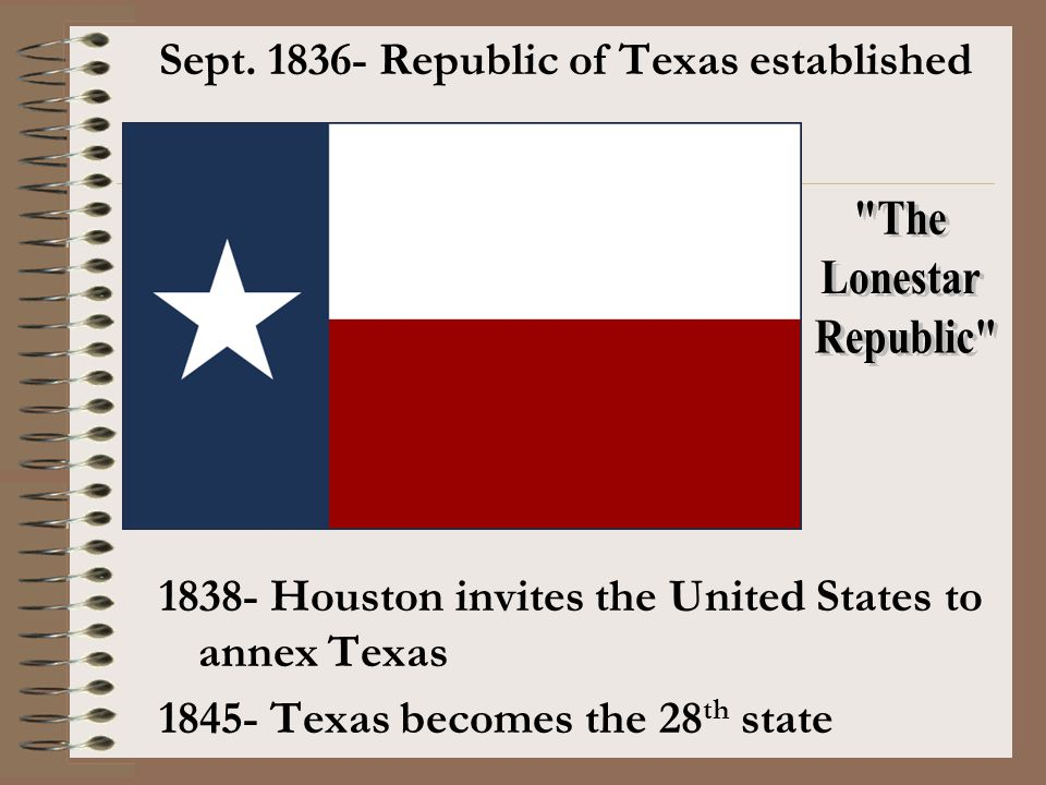 The Lonestar Republic Sept. 1836- Republic of Texas established
