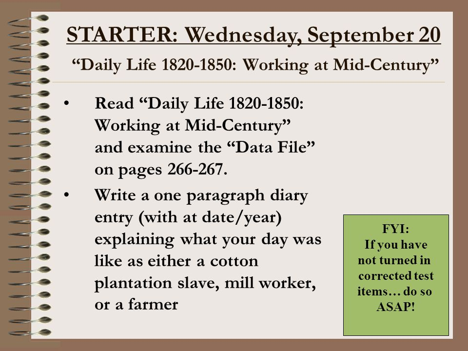 Daily Life 1820-1850: Working at Mid-Century