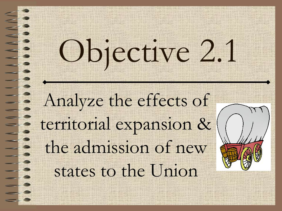 Objective 2.1 Analyze the effects of territorial expansion & the admission of new states to the Union.