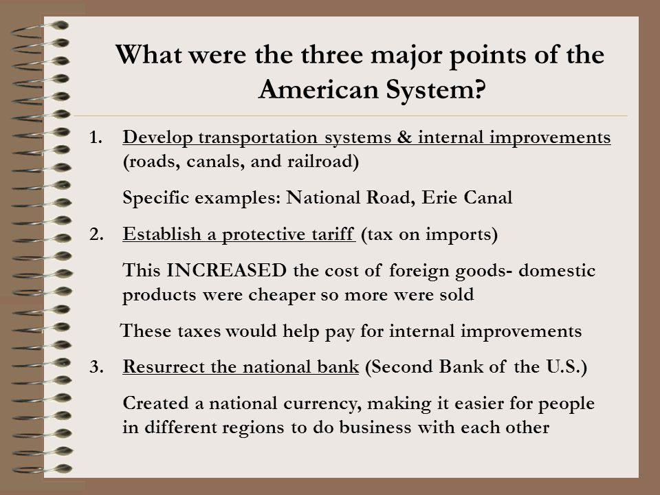What were the three major points of the American System