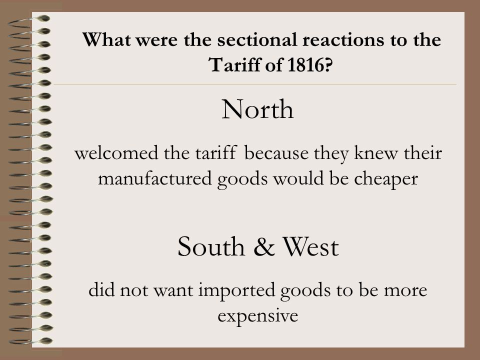What were the sectional reactions to the Tariff of 1816