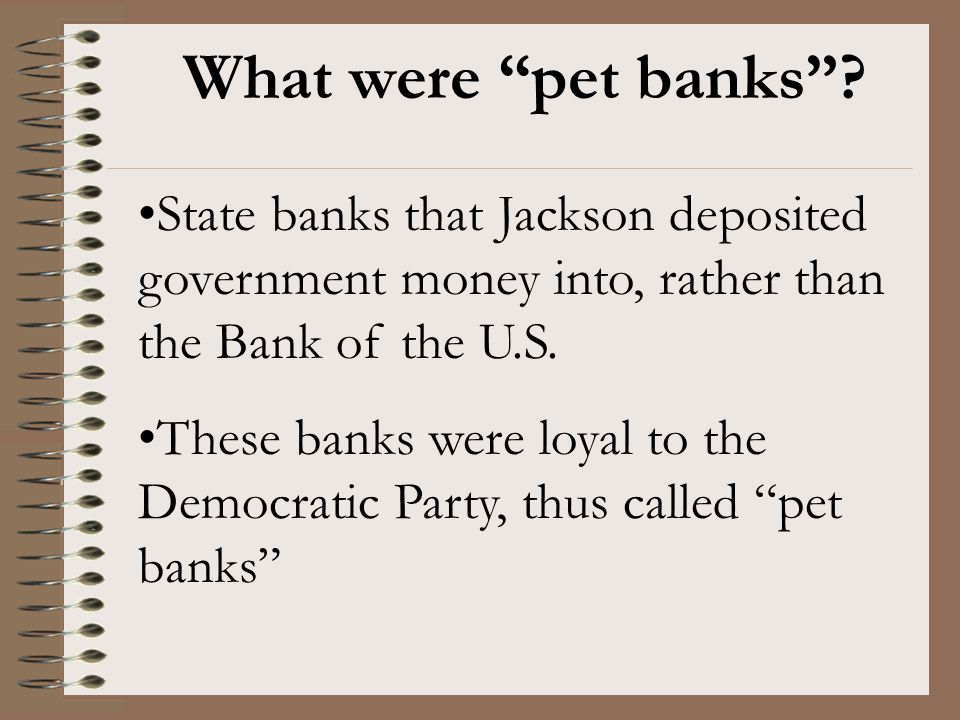 What were pet banks State banks that Jackson deposited government money into, rather than the Bank of the U.S.