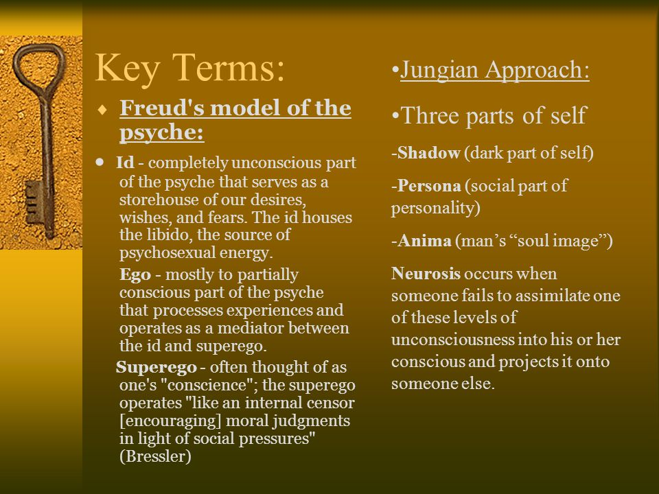 Key Terms: Jungian Approach: Three parts of self