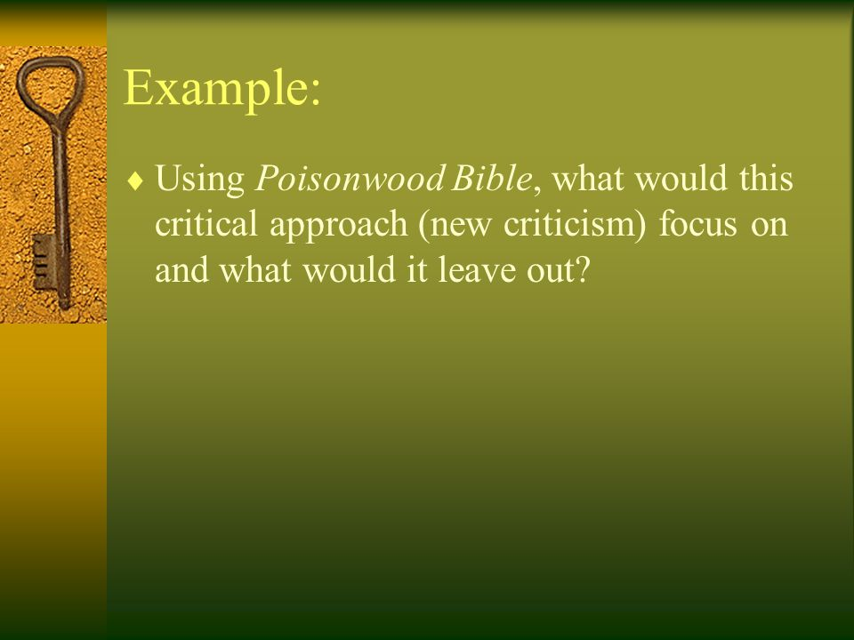 Example: Using Poisonwood Bible, what would this critical approach (new criticism) focus on and what would it leave out