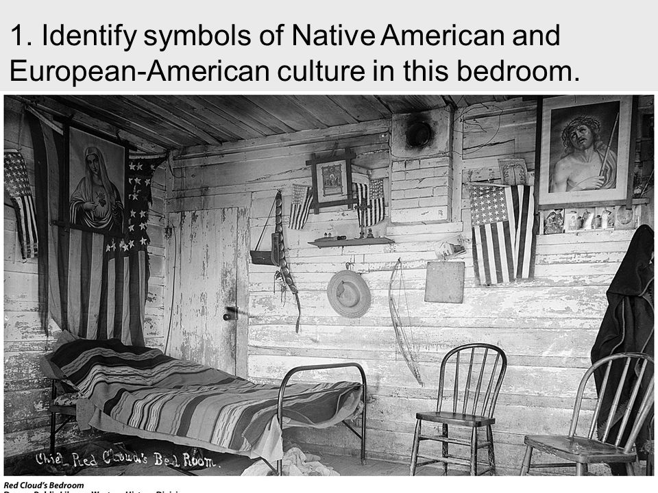 1. Identify symbols of Native American and European-American culture in this bedroom.