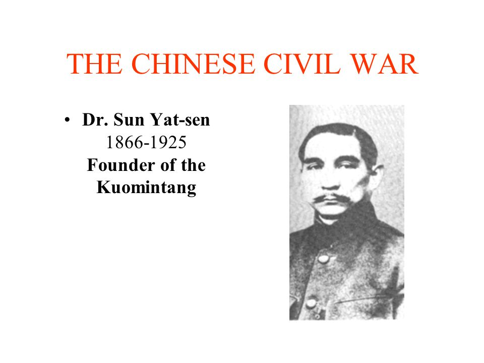 Dr. Sun Yat-sen 1866-1925 Founder of the Kuomintang