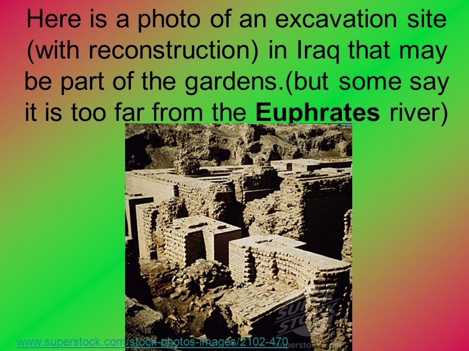 Here is a photo of an excavation site (with reconstruction) in Iraq that may be part of the gardens.(but some say it is too far from the Euphrates river)
