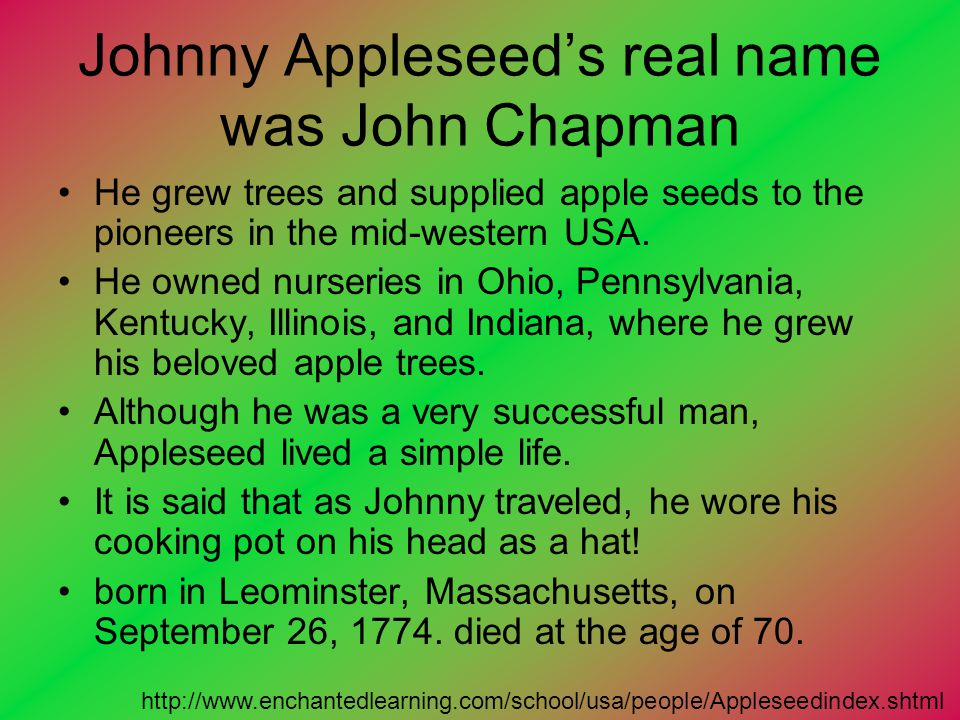 Johnny Appleseed's real name was John Chapman
