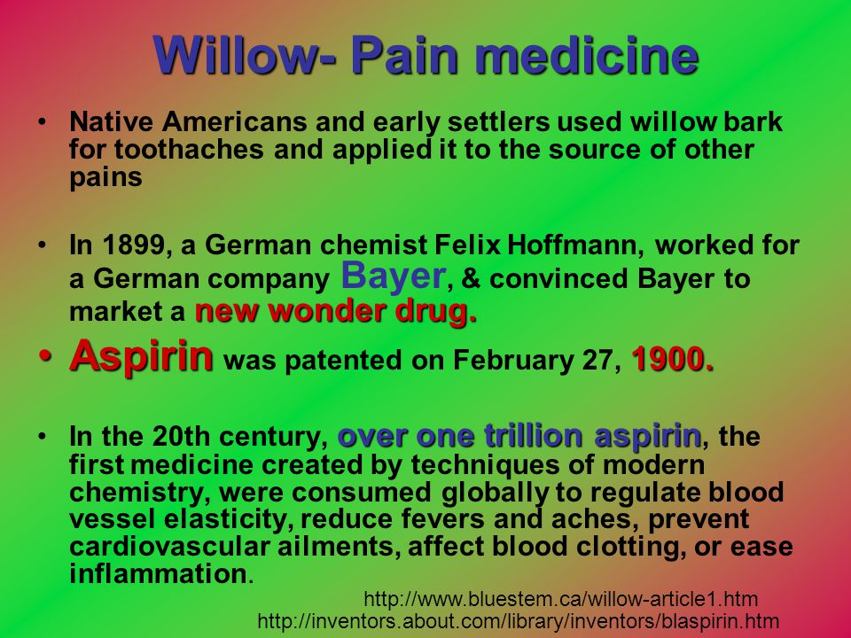 Willow- Pain medicine Aspirin was patented on February 27, 1900.