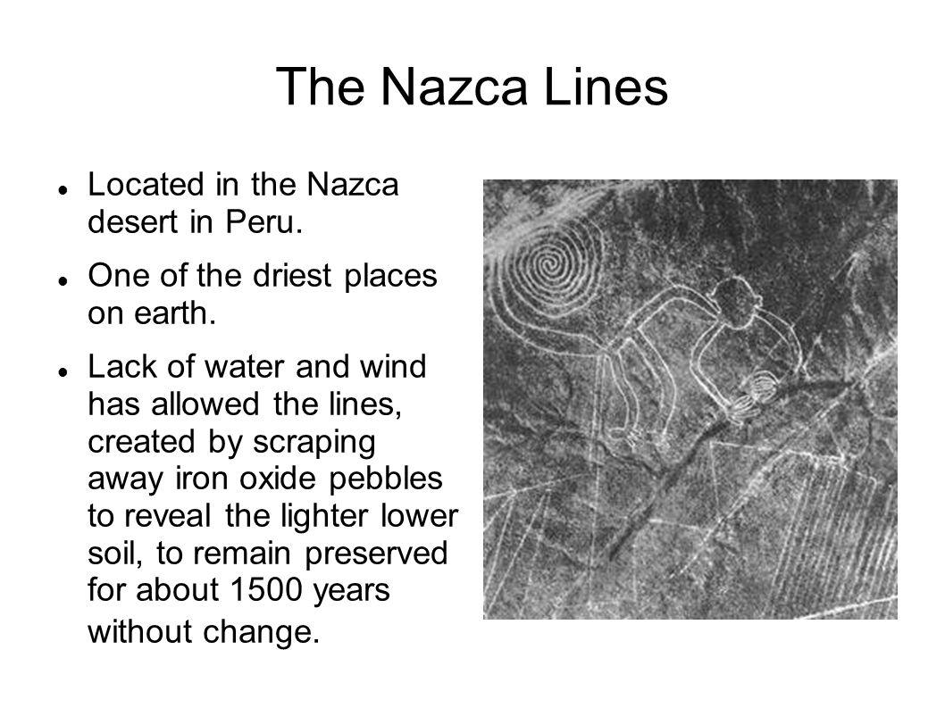 The Nazca Lines Located in the Nazca desert in Peru.