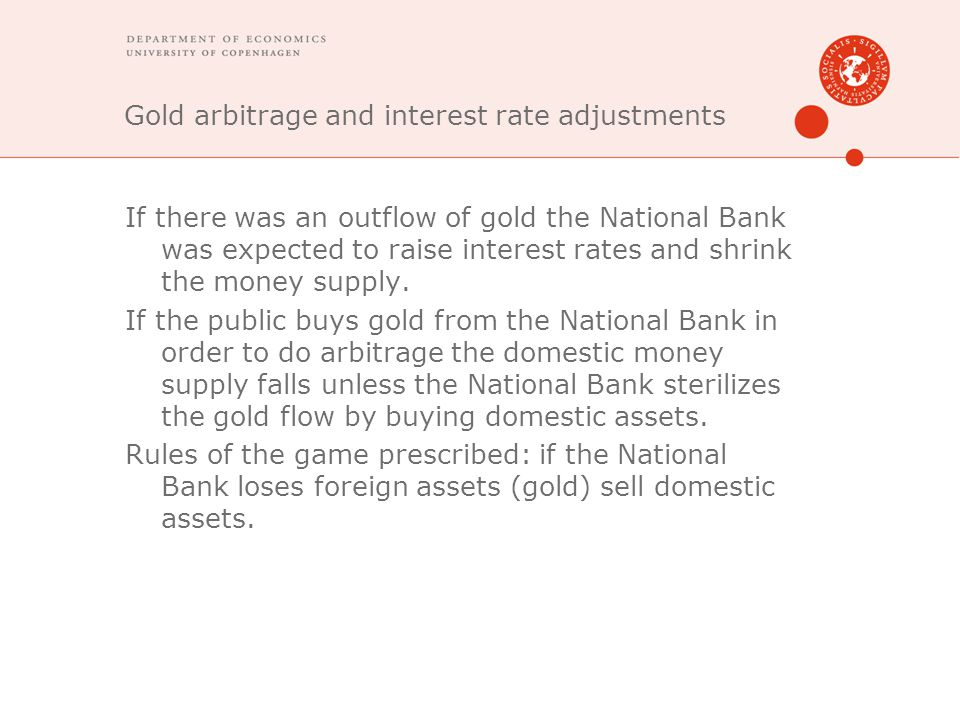 Gold arbitrage and interest rate adjustments