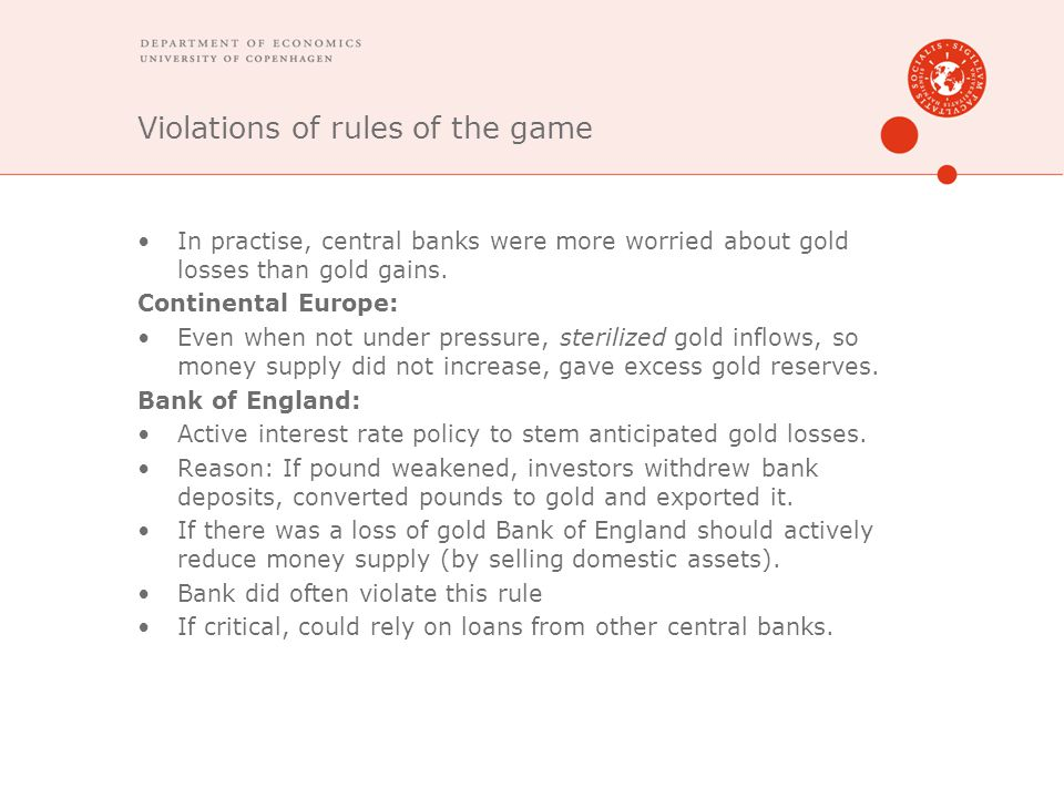 Violations of rules of the game