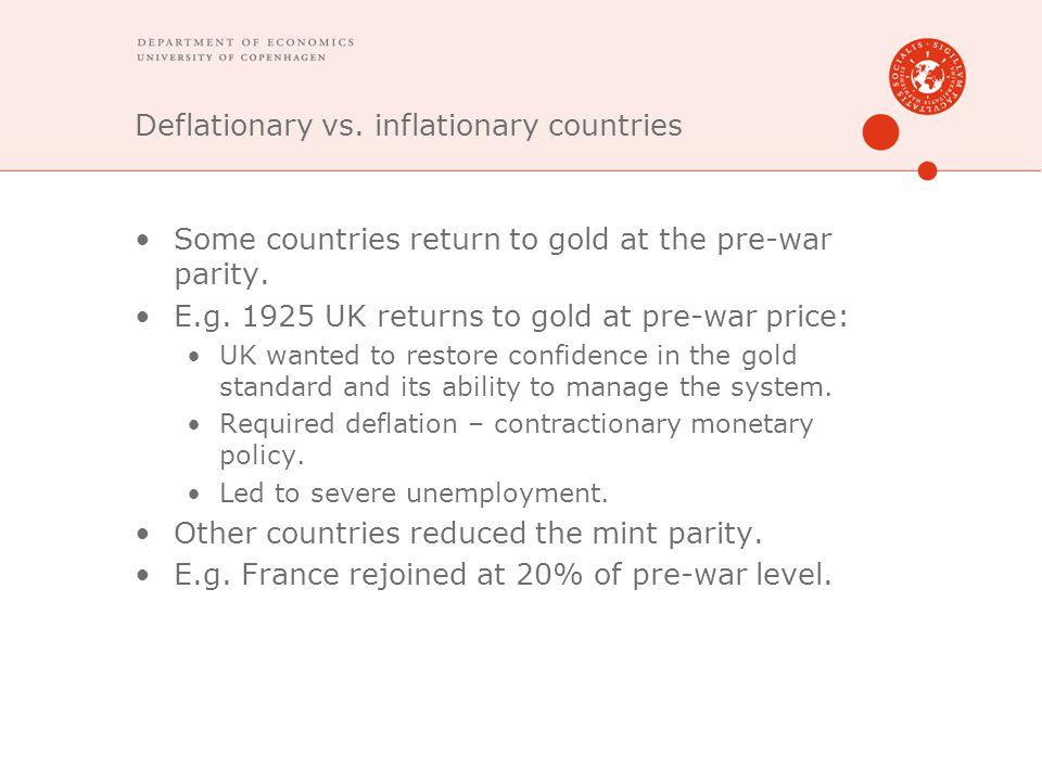 Deflationary vs. inflationary countries