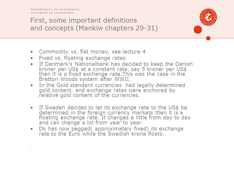 First, some important definitions and concepts (Mankiw chapters 29-31)