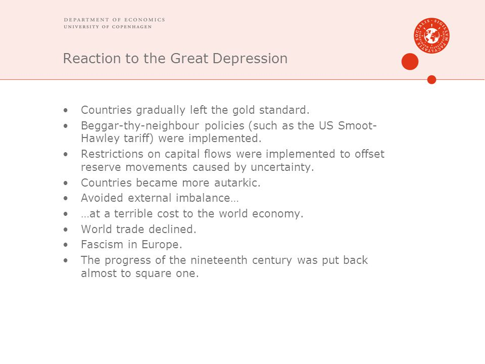 Reaction to the Great Depression