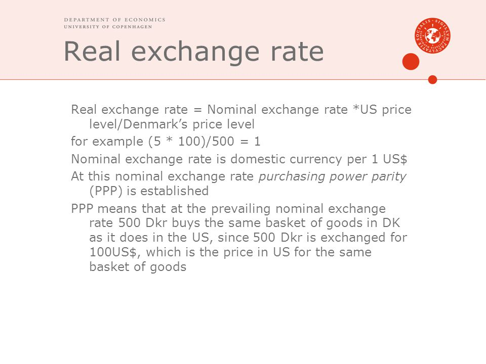 Real exchange rate Real exchange rate = Nominal exchange rate *US price level/Denmark's price level.
