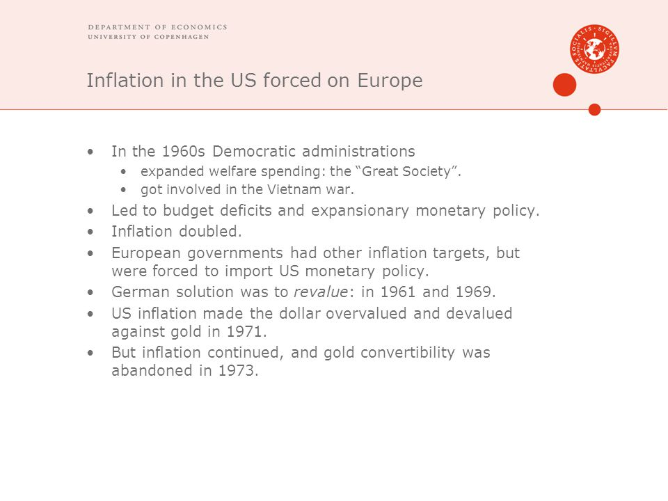 Inflation in the US forced on Europe