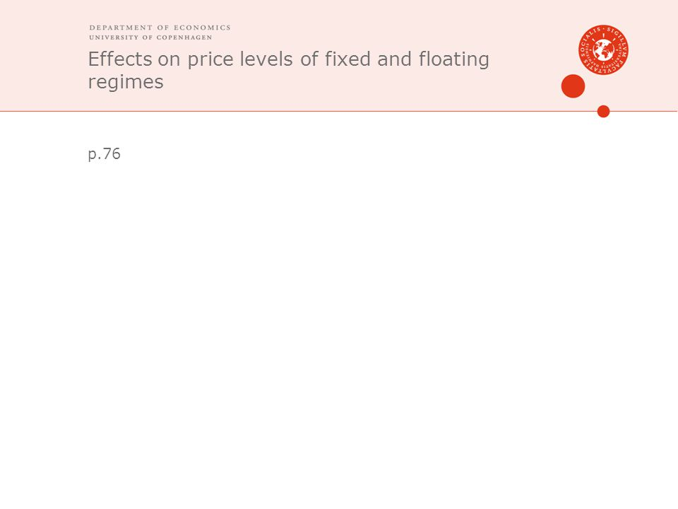Effects on price levels of fixed and floating regimes