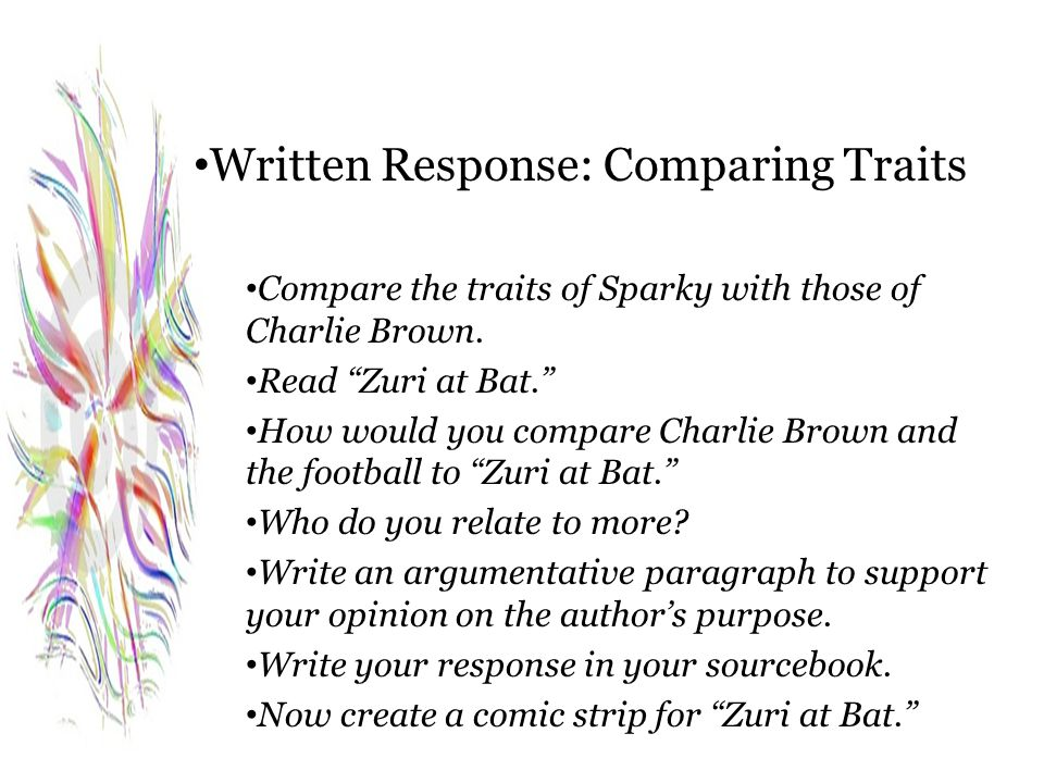 Written Response: Comparing Traits