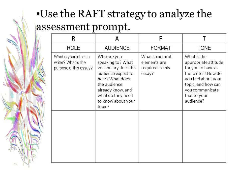 Use the RAFT strategy to analyze the assessment prompt.