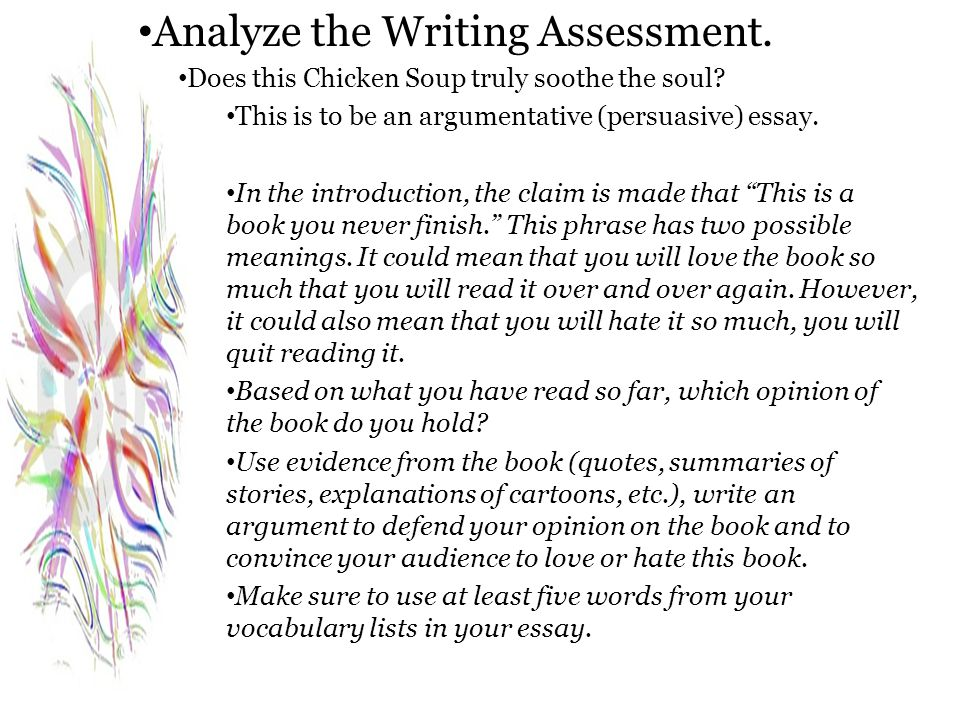 Analyze the Writing Assessment.