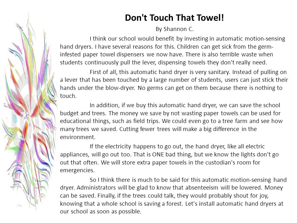 Don t Touch That Towel! By Shannon C.
