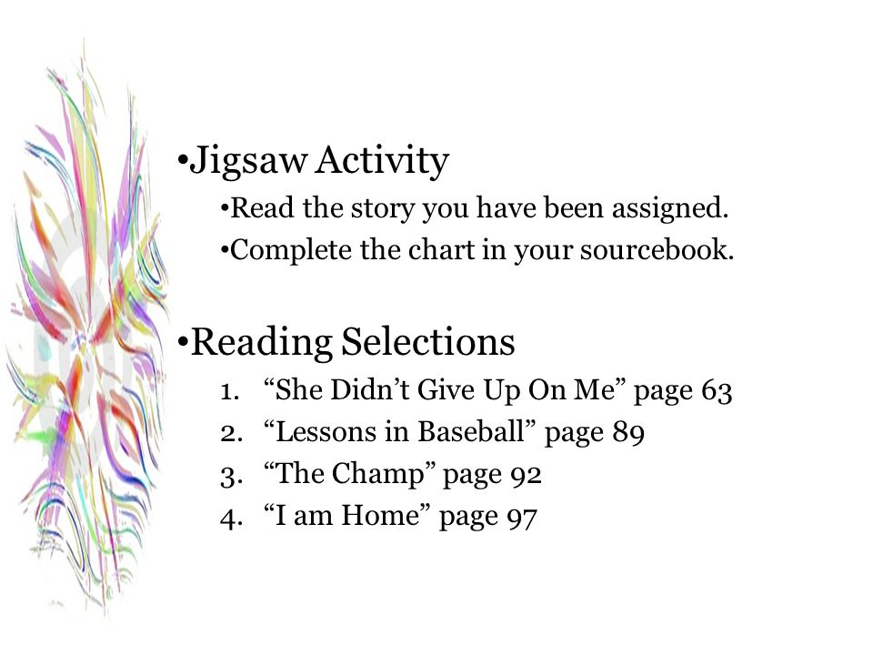 Jigsaw Activity Reading Selections