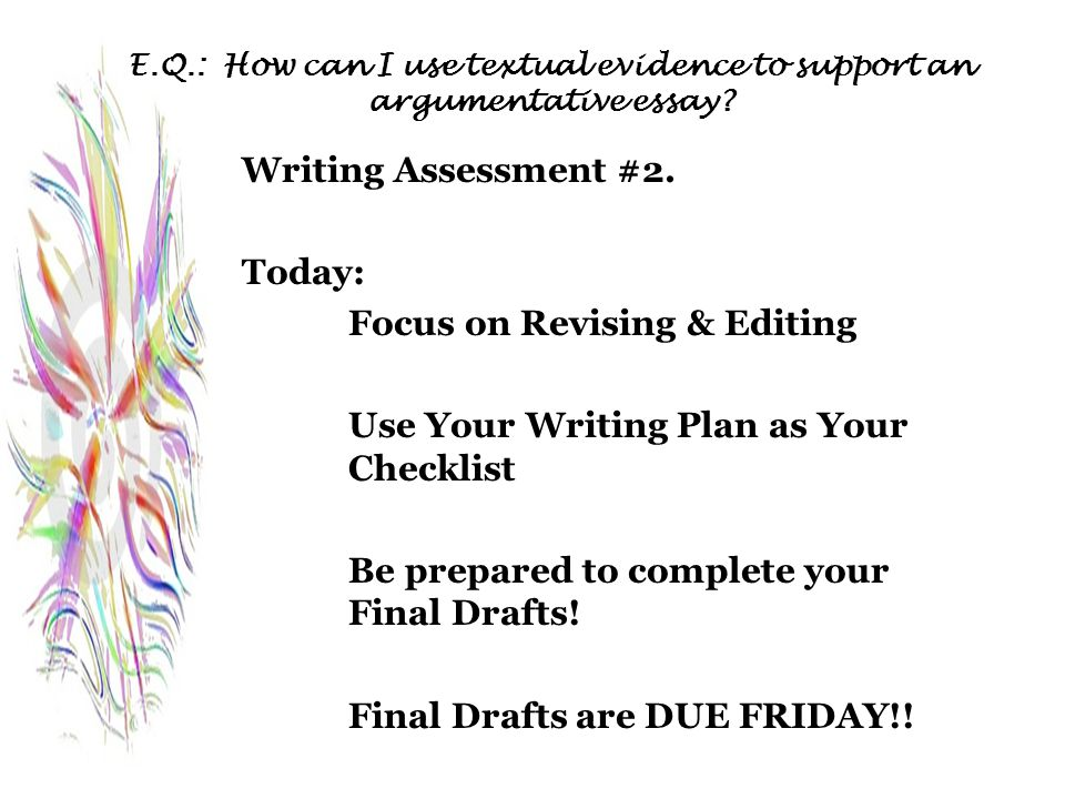 Focus on Revising & Editing Use Your Writing Plan as Your Checklist