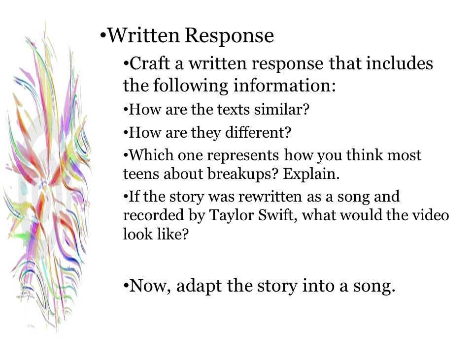Written Response Craft a written response that includes the following information: How are the texts similar