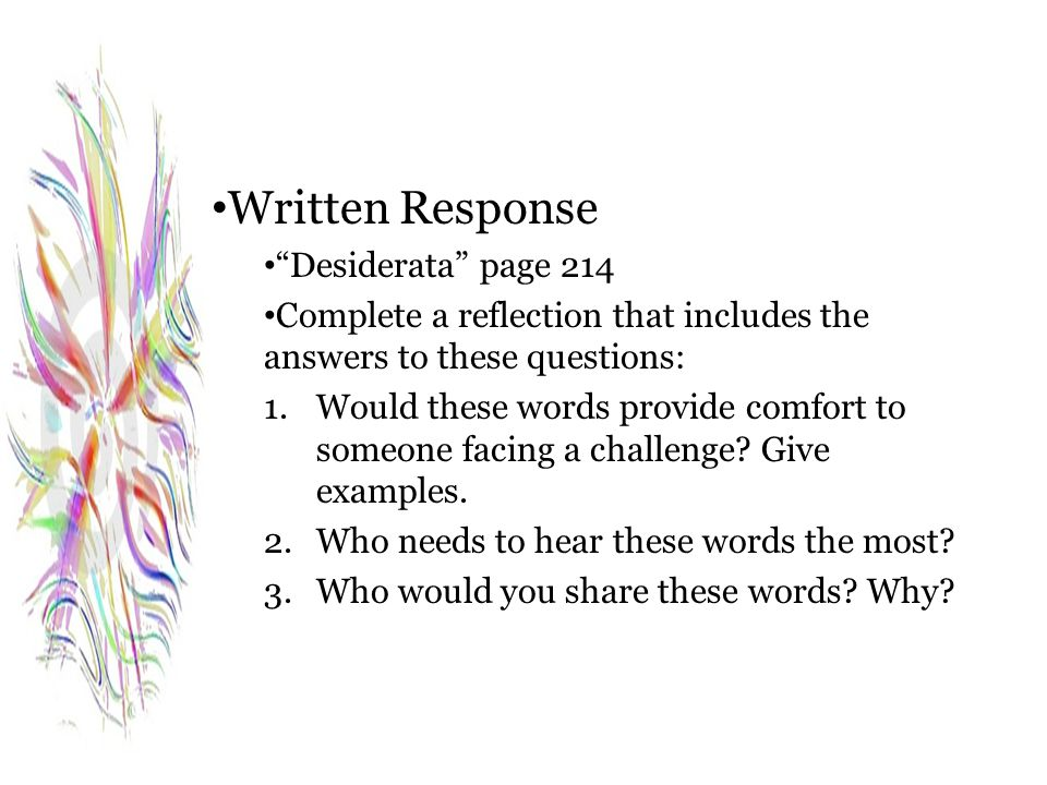 Written Response Desiderata page 214