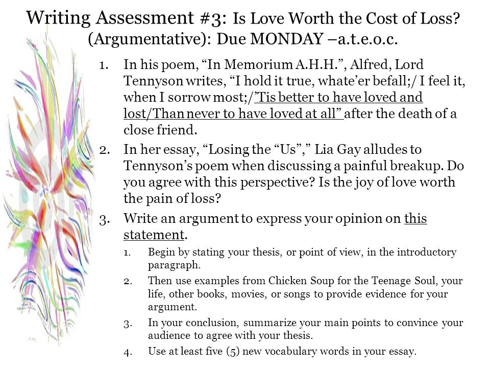Writing Assessment #3: Is Love Worth the Cost of Loss