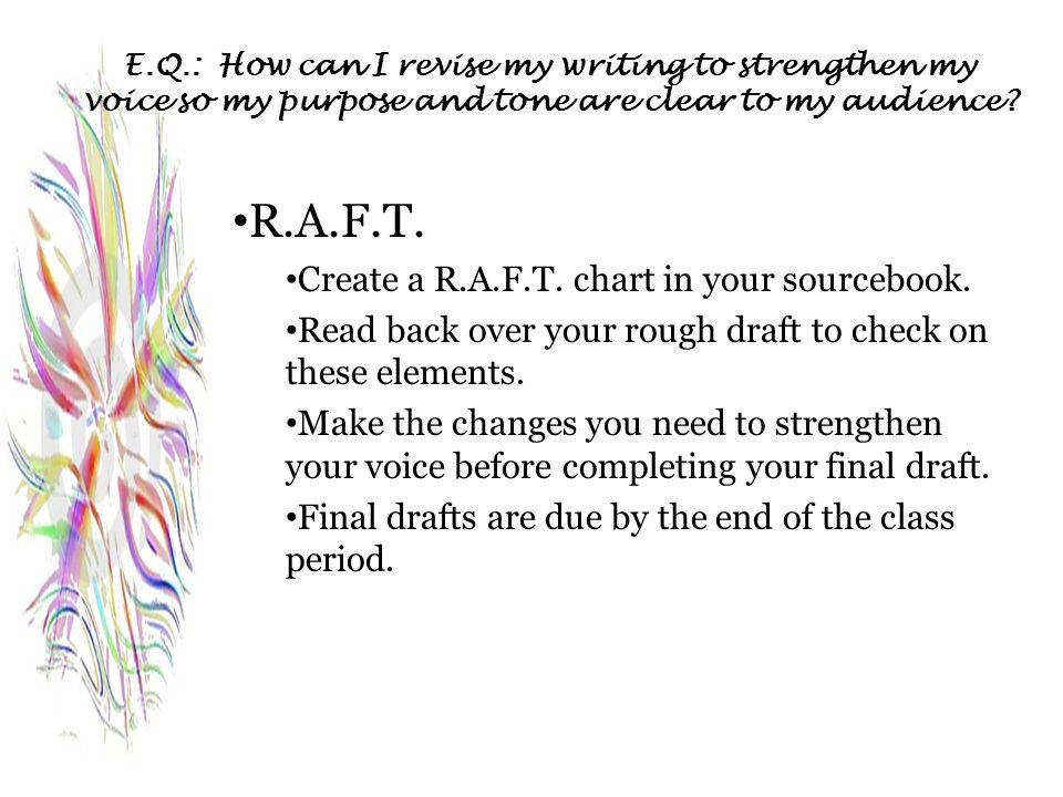 R.A.F.T. Create a R.A.F.T. chart in your sourcebook.
