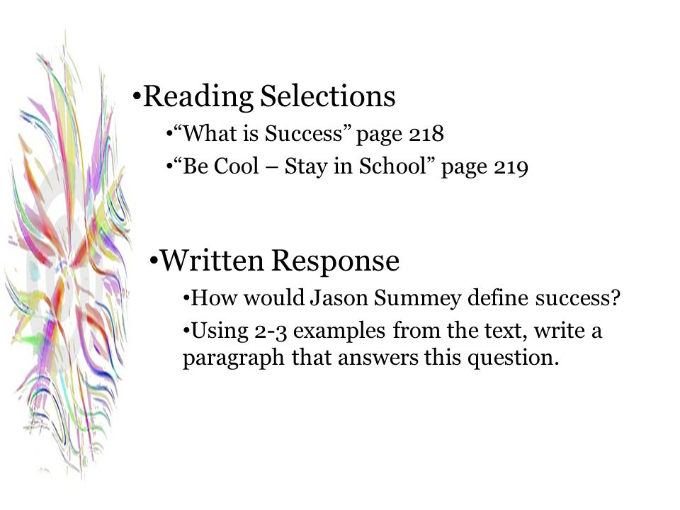 Reading Selections Written Response What is Success page 218